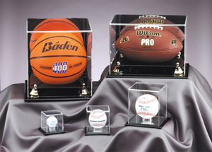 Acrylic display cases for sports memorabilia
